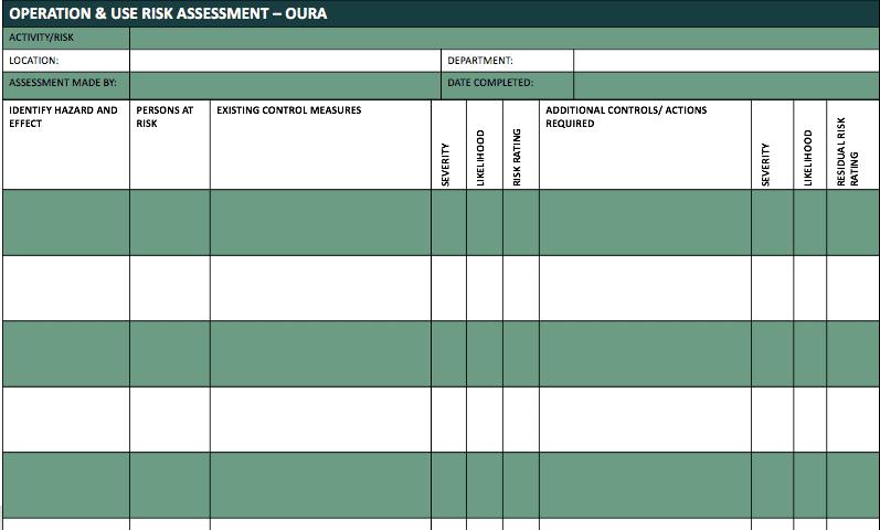 Risk assesment template